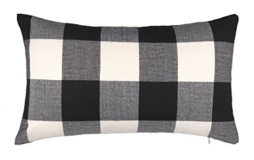 4TH Emotion 12 x 20 Inch Black and White Buffalo Check Plaids Lumbar Throw Pillow Case Cushion Cover Retro Farmhouse Decoration for Couch Sofa (Lumbar Pillow Cover)