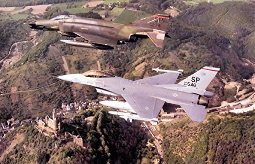 Home Comforts LAMINATED POSTER F-4G and F-16C 52d Tactical Fighter Wing Spangdahlem AB West Germany - Wing Tactical Fighter