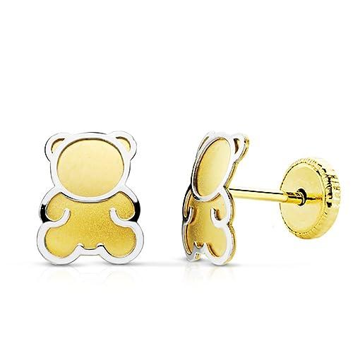 096efcfb0afd Pendientes bebe niña oso osito oro bicolor 18k 6 mm rosca  Amazon.es   Joyería