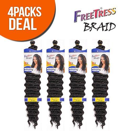 """FreeTress Synthetic Hair Braids Deep Twist Bulk 22"""" (4-Pack, TT530)"""