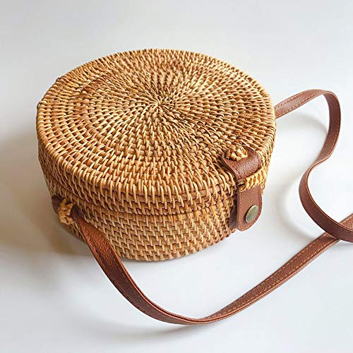 Handwoven Round Crossbody Natural Chic Khaki Hand Shoulder certainPL Leather Rattan Bag Straps Khaki OdvSOWgqZ