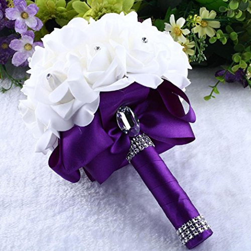 DDLBiz Beautiful Crystal Roses Pearl Bridesmaid Wedding Bouquet Bridal Artificial Silk Flowers (Purple)