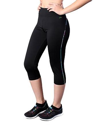 0ae04a09e7 Exer Sportswear Women's Aurora Black Capris Leggings at Amazon ...