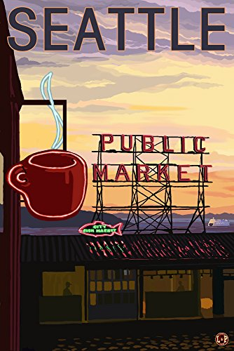 Seattle, Washington - Pike Place Market Sign and Water (9x12 Art Print, Wall Decor Travel Poster) ()