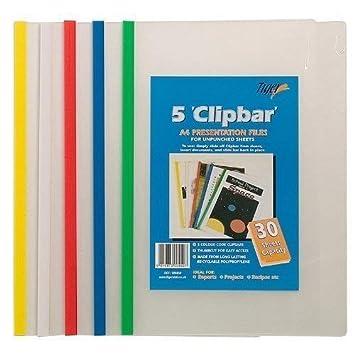 Tiger A4 Clip Barra Lima (30 Capacidad De Hojas) Documento Carpeta De Presentación Color Paquete de 5: Amazon.es: Oficina y papelería