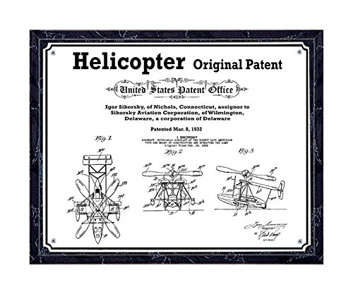 JS Original Helicopter patent printed on metal plate, mounted on black marble-finish wooden plaque