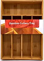 Bamboo Kitchen Tray Organizer - Bamboo Drawer Organizer - Silverware tray - Bamboo Hardware Organizer - 5-Compartment - by Utopia Kitchen