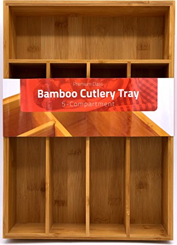 (Utopia Kitchen Bamboo Silverware Organizer- 5 Compartments - Bamboo Drawer Organizer Tray - Bamboo Hardware Organizer)