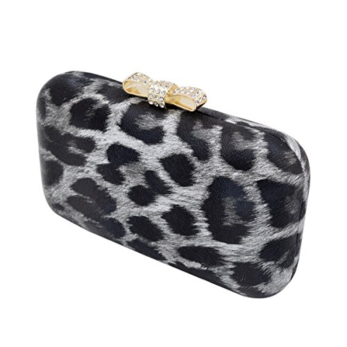 Elegant Leopard PU Leather Crystal Bow Top Hard Clutch, Grey by TrendsBlue (Image #2)