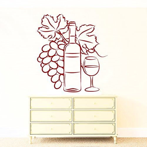 Wall Vinyl Sticker Decor Wine Glass Bottle Cluster of Grapes (n179) (n144 L 28.5 in by 35.5 (Harmony Glass Clusters)