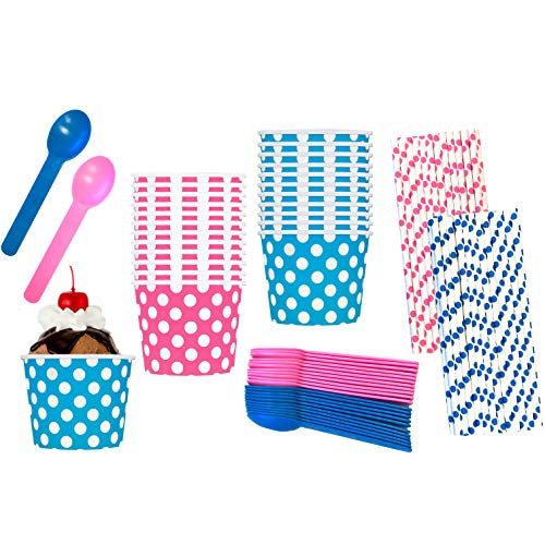 Gender Reveal Ice Cream Party Kit - 12 Ounce Pink and Blue Dessert Treat Cups - Heavyweight Plastic Spoons - Polka Dot Paper Straws - 24 Each Cups and Spoons and 50 Straws -