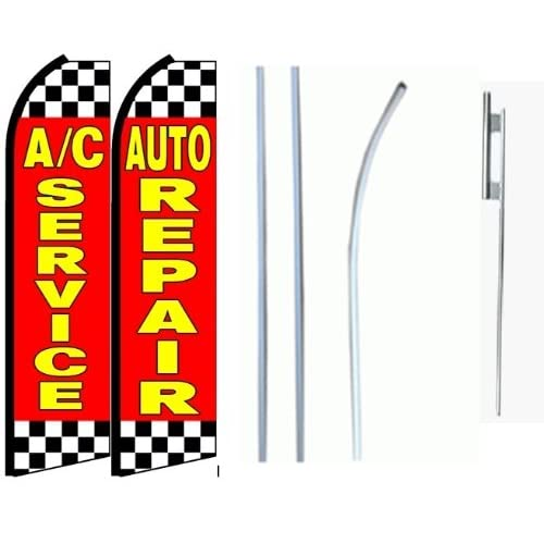 Cheap Ac Service, Auto Repair Standard Size Swooper Feather Flag Sign with Full Assembly Pole and Ground Spike Pk of 2