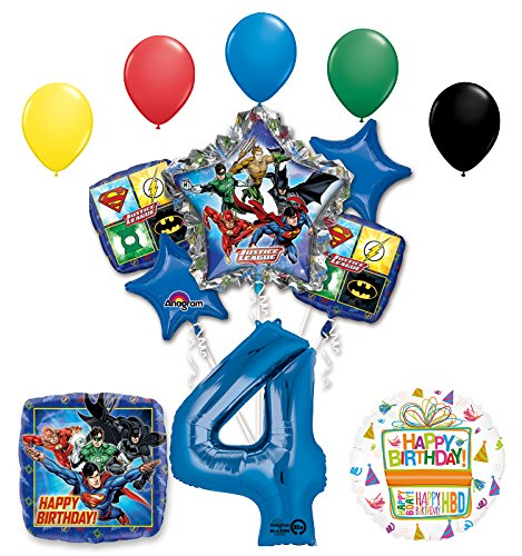 The Ultimate Justice League Superhero 4th Birthday Party Supplies and Balloon Decorations -