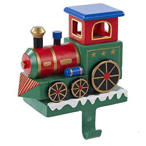 Kurt Adler Wooden Train Engine Stocking Hanger, 7-Inch (Holders Wooden Christmas Stocking)