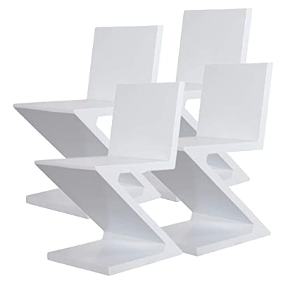 Remarkable Amazon Com Mlf Gerrit Thomas Rietveld Zig Zag Chair White Short Links Chair Design For Home Short Linksinfo