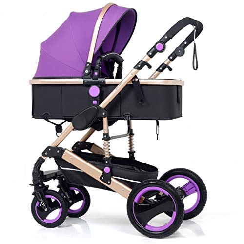 Comfortable Pushchair High Landscape Pram Travel System 3 in 1 Stroller Buggy Two-Way Baby Pushchair Foldable Height-Adjustable Strollers & Buggies (Color : Purple, Size : 34.2524.0142.91inch)