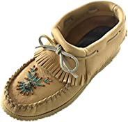 Bastien Industries Women's Natural Tan Moose Hide Leather Beaded Moccasins S
