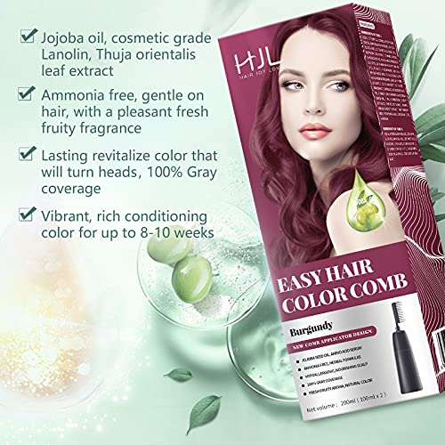HJL Burgundy Hair Dye Permanent 100% Gray Coverage Hair Color with Comb Applicator Easy Use Hair Coloring Cream Kit, Ammonia Free