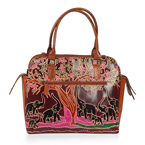 Tote Rfid Leather Handpainted Genuine 100 Bag Blocker With Tree Elephant x8YfWRqw