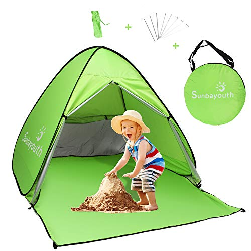 Sunba Youth Beach Tent, Beach Shade, Anti UV Instant Portable Tent Sun Shelter, Pop Up Baby Beach Tent, for 2-3 Person (Fluorescent Green)