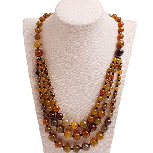 (Handmade 8-12mm Beaded Stone Necklace Fashion Jewelry 19 Inch DIY Fashion Long Necklace Jewelry for Women)