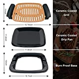 """Nonstick Electric Indoor Smokeless Grill - Portable BBQ Grills with Recipes, Fast Heating, Adjustable Thermostat, Easy to Clean, 16"""" x 11"""" Tabletop Square Griddle with Oil Drip Pan"""