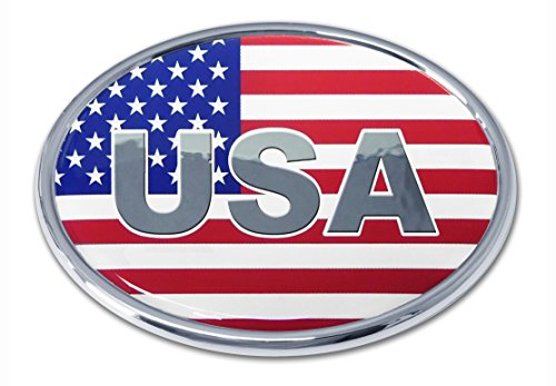 (USA Flag Oval Chrome Auto Emblem )