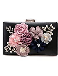 Women's Satin Flower Evening Clutch Bags Pearl Beaded Evening Handbag For Prom Bride Wedding