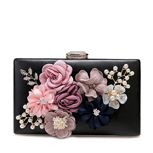 Womens Satin Flower Evening Clutch Bags Pearl Beaded Evening Handbag For Prom Bride Wedding