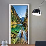 Gzhihine custom made 3d door stickers Outdoor Scenic View Arrow Bamboo Lake Among Mountains and Colorful Fall Woods China Blue Green Yellow For Room Decor 30x79