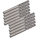 """CNBTR 1/8"""" 3.175x15mm Silver Carbide 4 Flute End Mill Cutter CNC Router Bits Spiral Set Tools Nylon Resin ABS Acrylic PVC MDF Hardwood Pack of 10"""