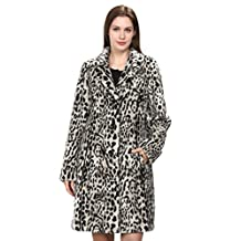 Adelaqueen Women's Heavy Leopard Print Faux Fur Mink Coat with V-Lapel Collar