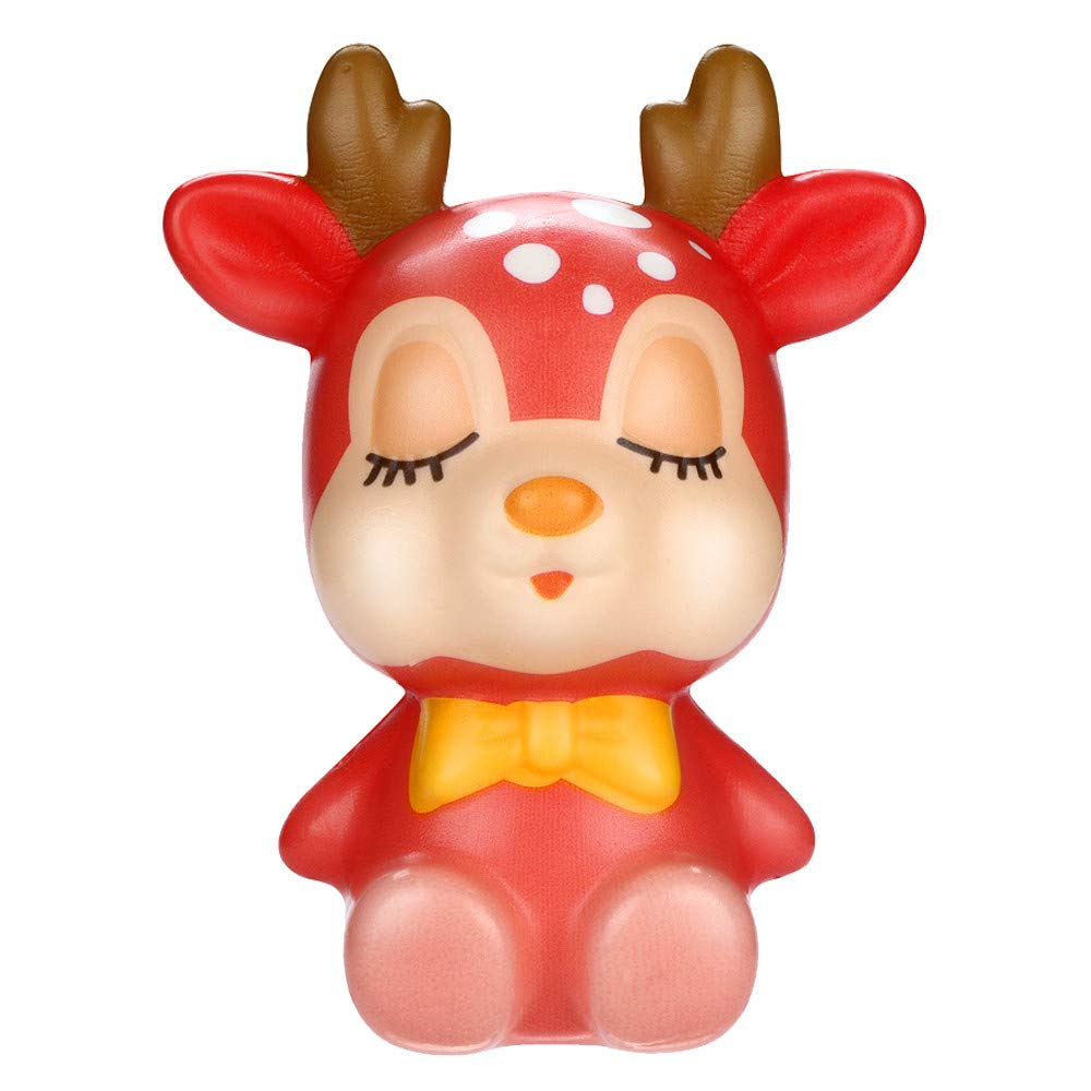 Squeeze Toys, Jinjin Christmas Kawaii Deer Slow Rising Cream Scented Stress Relief Toys (Red)