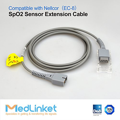MED-LINKET SpO2 Sensor Extension Cable Compatible with Nellcor EC-8