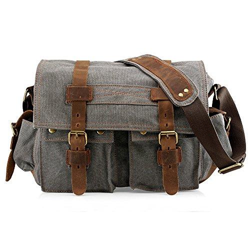College Messenger Bag - Men's Vintage Canvas and Leather Satchel School Military Shoulder Bag Messenger Large 17