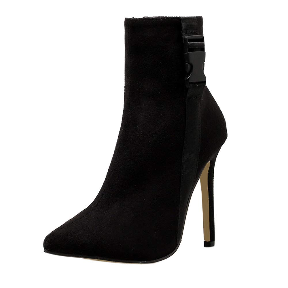 Kauneus Womens Stretch Stiletto High Heel Booties Pull On Pointed Toe Sock Ankle Boots Black