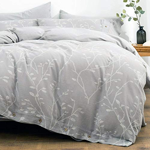 OREISE Duvet Cover Set Full/Queen Size Washed Cotton Yarn, Jacquard Gray and White Thick Branch Pattern Floral Style 3Piece Bedding Set