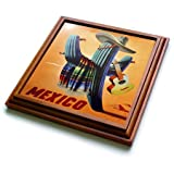 3dRose trv_60670_1 Mexican Travel Poster Trivet with Ceramic Tile, 8 by 8'', Brown
