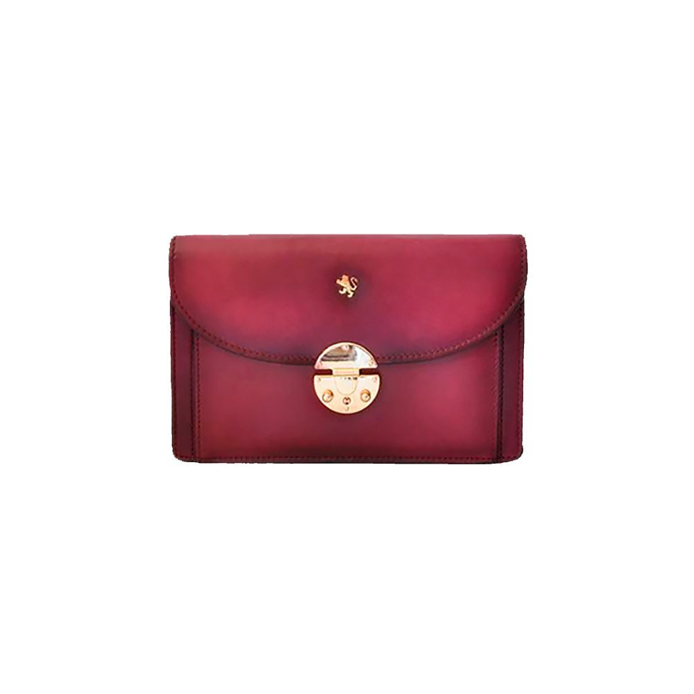 Pratesi Womens [Personalized Initials Embossing] Italian Leather Tullia d'Aragona Santa Croce Lady Bag in Purple