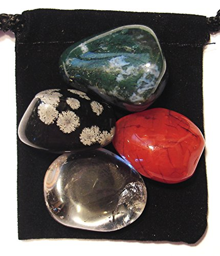 (The Magic Is In You Yeast/Candida Regulator Tumbled Crystal Healing Set with Pouch & Description Card - Carnelian, Clear Quartz, Moss Agate, Snowflake Obsidian)