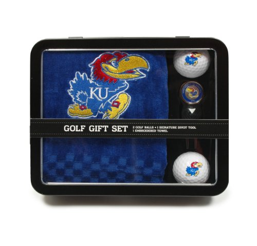 NCAA Kansas Jayhawks Embroidered Golf Towel, 2 Golf Balls, And Divot Tool (Kansas Jayhawks Embroidered Towel)