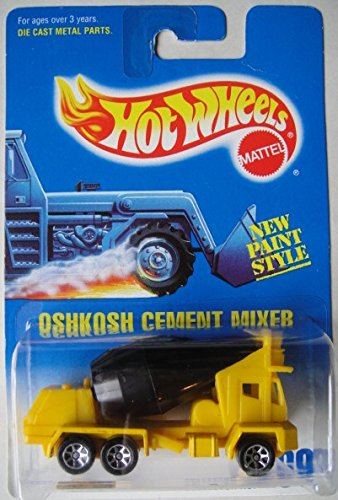 HOT WHEELS YELLOW AND BLACK SEVEN SPOKE #269 OSHKOSH CEMENT MIXER DIE-CAST (Oshkosh Cement Mixer)