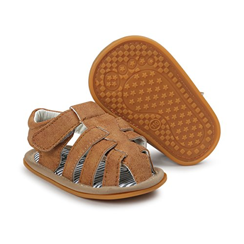 (Infant Baby Boys Girls Summer Sandals PU Leather Rubber Sole Toddler First Walker Shoes(6-12 Months M US Infant,A-Brown))