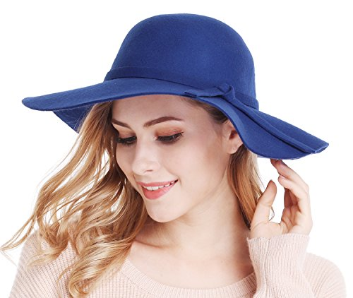 Bienvenu Women's Wide Brim Wool Ribbon Band Floppy Hat Royal Blue -