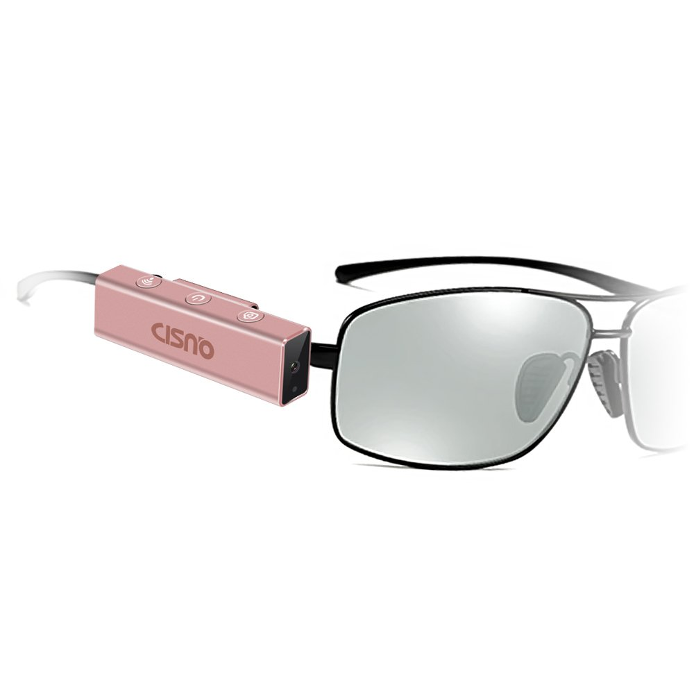 CISNO Wink Smart Camera Wireless Outdoor Wearable Eyewear Photos Capturing and Video Recording Cam Lens For Glasses Sunglasses 8M Pixel HD 1080P (Rose Gold) by CISNO