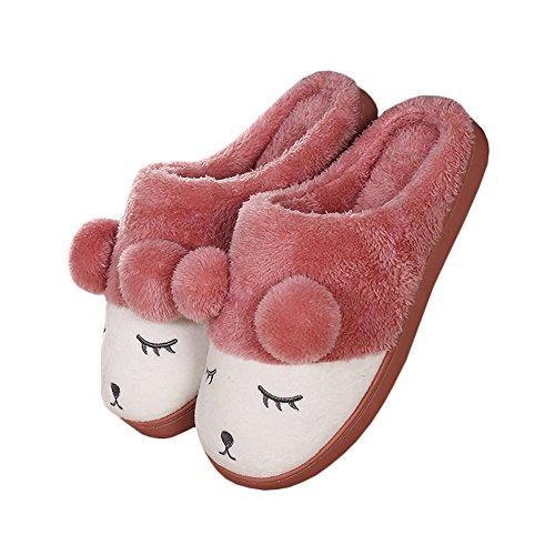 Jaderich Simpatico Personaggio Di Pecora Accogliente In Pile Caldo Caldo Pantofole In Gomma Rossa