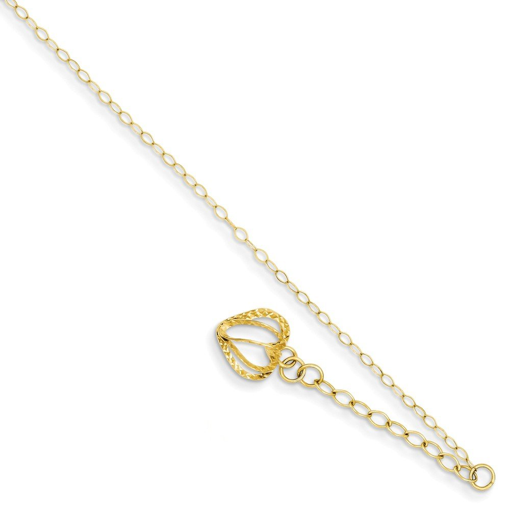 14K Yellow Gold Oval Link Chain with Diamond Cut Open Heart Cage w//1in Ext Anklet