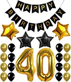KATCHON 1 11 Decorations Happy Birthday Banner, 40th Balloons,Gold and Black, Number Perfect 40 Years Old Par, M