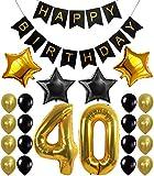 40th BIRTHDAY DECORATIONS BALLOONS BANNER - Happy Birthday Black Banner, ...