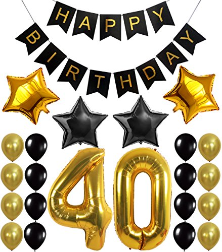 KATCHON 1 11 Decorations Happy Birthday Banner, 40th Balloons,Gold and Black, Number, Perfect 40 Years Old Par, M -